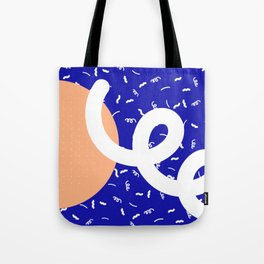 Peach + Blue Abstract Pattern Tote Bag