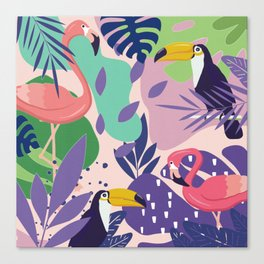 Tropical Jungle With Flamingos And Toucans Memphis Style Canvas Print