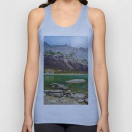 Medicine Lake in Jasper National Park, Canada Unisex Tank Top