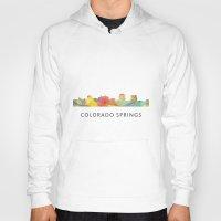 colorado Hoodies featuring Colorado Springs Colorado Skyline by Marlene Watson