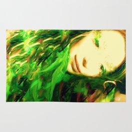 GREEN  FEATHER FAIRY WOOD NYMPH LADYKASHMIR Rug