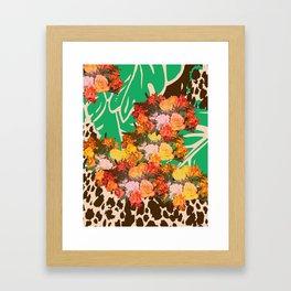 TROPICAL FLOWER LEOPARD SPOT ISLAND PATTERN Framed Art Print