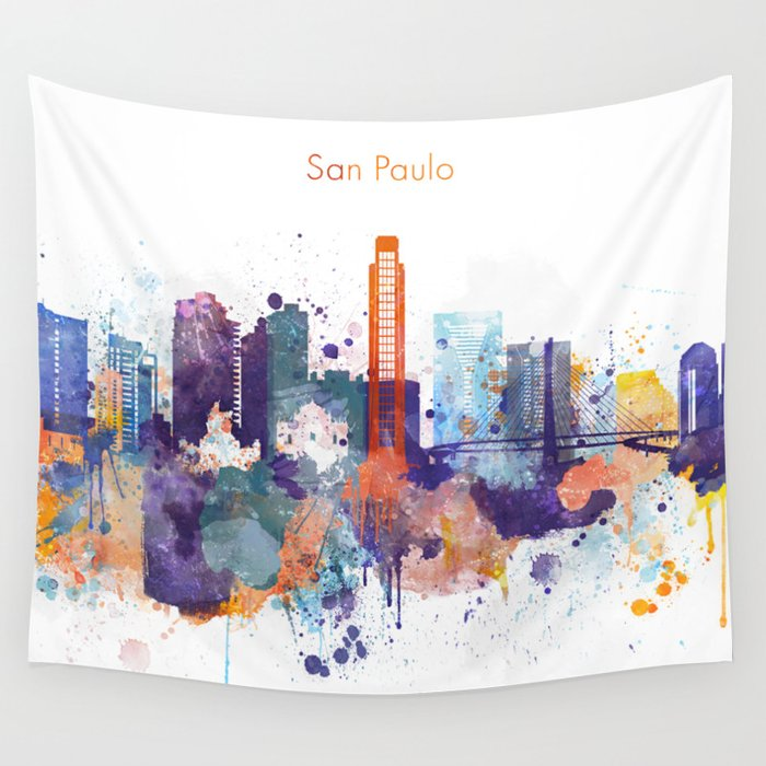 Colorful San Paulo skyline design Wall Tapestry