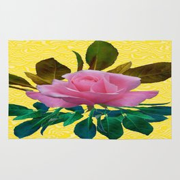 Pink  Garden Rose Leaves Morie Yellow Silk  Rug