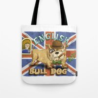 english bulldog Tote Bags featuring English Bulldog by Brian Raszka Art & Illustration