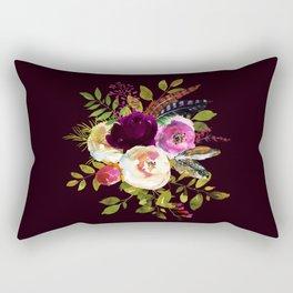 Moody Watercolor Roses on Dark Rectangular Pillow