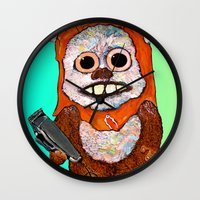 ewok Wall Clocks featuring Eccentric Ewok by Jordan Soliz