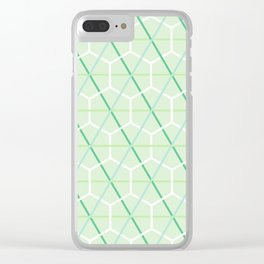 Mint Green Honeycomb Check Clear iPhone Case