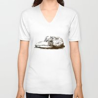 shih tzu V-neck T-shirts featuring Little Shih Tzu by Louise Hubbard