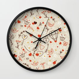 Valentines line art Wall Clock