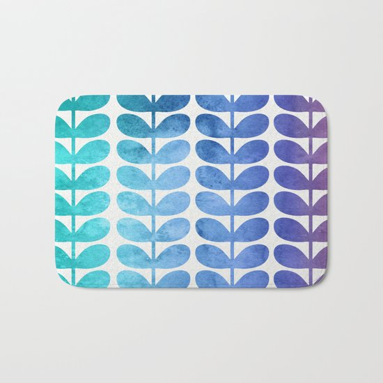 Colorful Leaves from Turquoise to Levender Bath Mat