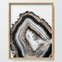 Agate Gold Glitter Glam #1 #gem #decor #art #society6 Serving Tray