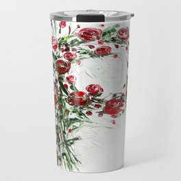 Floral Monogram P Travel Mug