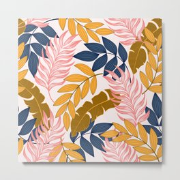 Summer seamless tropical pattern with bright plants and leaves on a white background. Seamless exotic pattern with tropical plants. Tropic leaves in bright colors. Metal Print