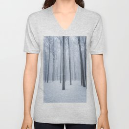 Foggy frozen winter forest Unisex V-Neck
