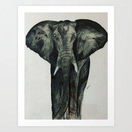 ELEPHANT IN CHARCOAL Art Print