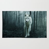 sansa stark Area & Throw Rugs featuring Wolf by Julie Hoddinott