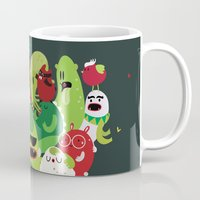 xmas Mugs featuring Xmas monsters by Maria Jose Da Luz
