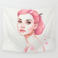 audrey hepburn Wall Tapestries featuring Audrey Hepburn by Black Fury