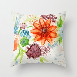 Splashed Flowers Throw Pillow