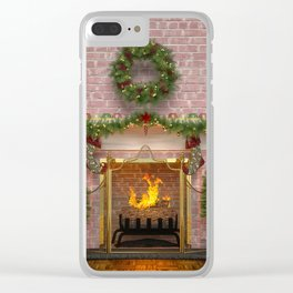 Christmas Hearth Clear iPhone Case