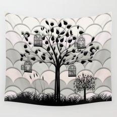 Paper landscape B&W Wall Tapestry