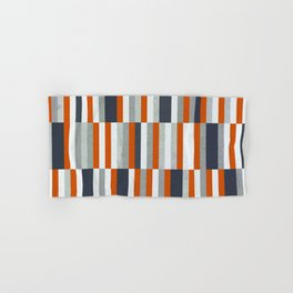 Orange, Navy Blue, Gray / Grey Stripes, Abstract Nautical Maritime Design by Hand & Bath Towel
