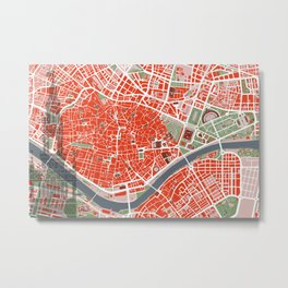 Seville city map classic Metal Print