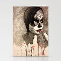 sugar skull Stationery Cards featuring sugar skull  by Joedunnz