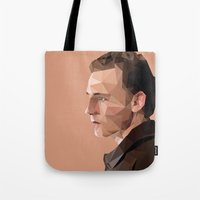 tom hiddleston Tote Bags featuring Tom Hiddleston - Low Poly by khitkhat