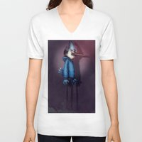 regular show V-neck T-shirts featuring Mordecai from Regular Show by Chuck Jackson