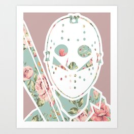 Floral Jason Friday the 13th Art Print