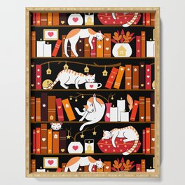 Library cats - cherry red Serving Tray
