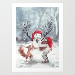 Gnome and squirrel building snowman - Christmas Art Print