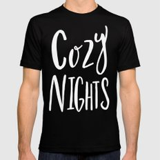 Cozy Nights - Hand lettered Art Typography Mens Fitted Tee Black MEDIUM