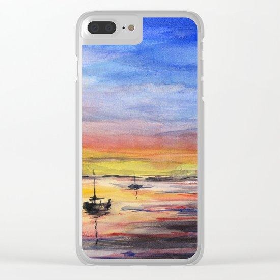 Sunset Watercolor Painting Landscape Art Clear iPhone Case