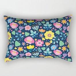 Cute Pink Yellow Green Purple Floral on Navy Blue Rectangular Pillow