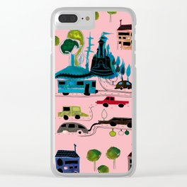 CityView pink Clear iPhone Case