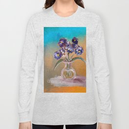 Purple And Blue Pansies In Glass Vase Long Sleeve T-shirt