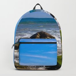 Pacific Pier | Malibu Ocean Scene Waves Tide Beach Art Print Tapestry Backpack