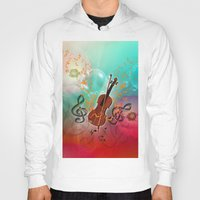 violin Hoodies featuring Violin with violin bow by nicky2342