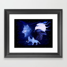 Wolf and Raven with full Moon  Framed Art Print