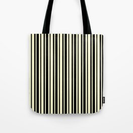 Cream Yellow and Black Vertical Var Size Stripes Tote Bag