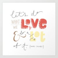 marc jacobs Art Prints featuring marc jacobs quote by Mandie Kuo
