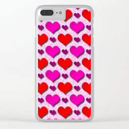 Love Hearts Pattern With Pink Fuzzy Background Clear iPhone Case