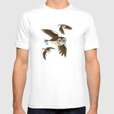 Owls On The Prowl Mens Fitted Tee MEDIUM White