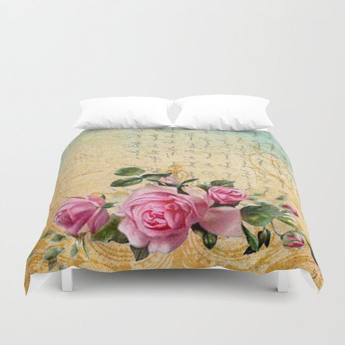 Vintage Roses #6 - Pretty Beautiful Flowers Floral Duvet Cover