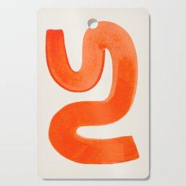 Mid Century Modern Abstract Minimalist Abstract Vintage Retro Orange Watercolor Brush Strokes Cutting Board