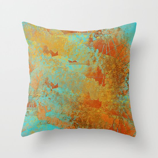 Turquoise and Copper Red Throw Pillow by Jessielee