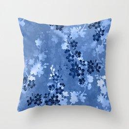 Sakura blossom in blue Throw Pillow